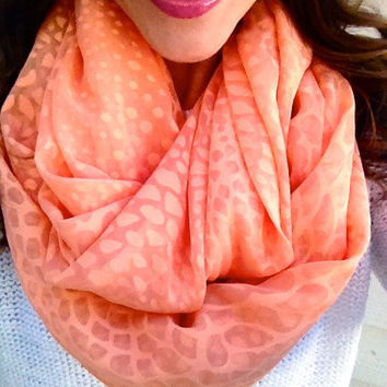 Coral Dotted Spring Infinity Scarf