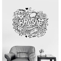 Vinyl Wall Decal Brazil Soccer South America Sketch Stickers Unique Gift (ig3101)