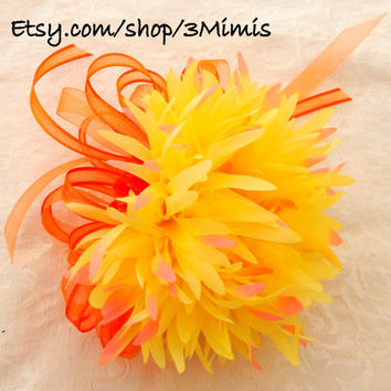 Tangerine Yellow Shabby Chic Wedding Wrist Corsage -Prom- Homecoming - Wrist Bouquet