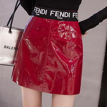 FENDI Autumn Winter Trending Women Stylish PU Leather High Waist A-Line Skirt Red