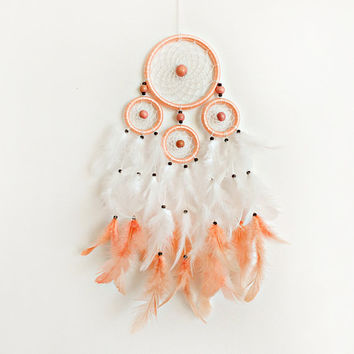 Dreamcatcher, Boho Dreamcatcher, Pastel Dream catcher, Dream catcher, Handmade, Wall Hanging, Home Decor, Feathers , Gypsy, White