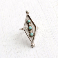 SALE- Vintage Sterling Silver Turquoise Ring- Retro Size 4 Native American Tribal Long Marquise Jewelry