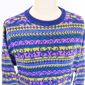 Vintage 1990s AZTEC Sweater Jumper XL Geometric Jazz Indie Hipster Crazy Pattern