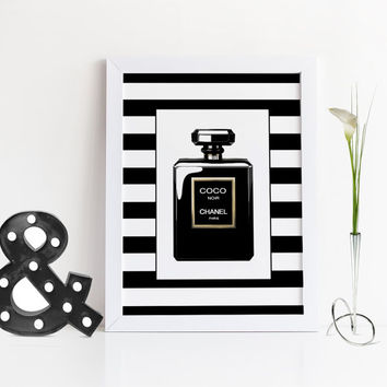 COCO CHANEL PERFUME,Gift For Wife,Gift For Friend,Chanel Noir Paris,Chanel Fashion Print,Chanel Perfume Bottle,Modern Art,Fashionista