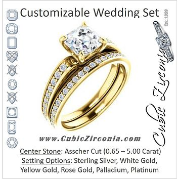 CZ Wedding Set, featuring The Sashalle engagement ring (Customizable Cathedral-Raised Asscher Cut Design with Tapered Pavé Band)