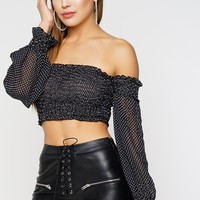 Avenue Off The Shoulder Top - Black/White