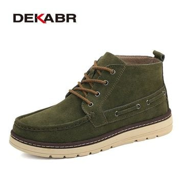 Winter Snow Men Boots Handmade Suede Working Boots Men Trend Green Blue Ankle Boots Lace-Up Autumn Winter Men Shoes
