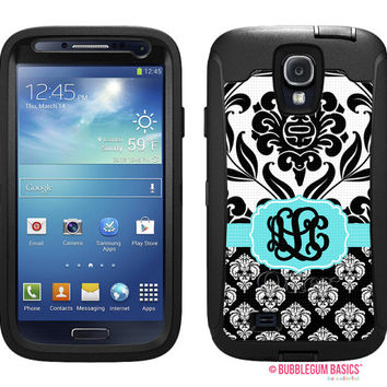 OTTERBOX DEFENDER Samsung Galaxy S4 siv Case Custom Double Damask - Black White Aqua - Monogram - Custom - Personalized - initials