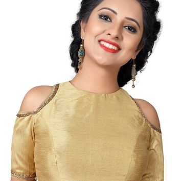 Gold Dupion Silk Cold Shoulder Style Saree Blouse SNT-X-467-SL