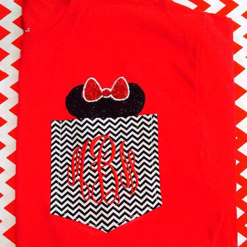 Minnie Mouse monogrammed pocket tee shirt for woman Disney shirt