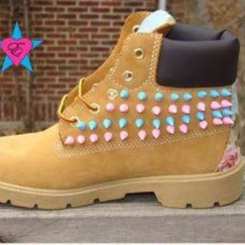PreSchool Kids- Custom Pink Light Blue Spiked Toddler Timberland Light Blue Floral Pri
