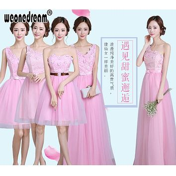 WEONEDREAM Bridesmaid Dress Prom Dresses Pink Purple Champane Floor Length Chiffon Long Short Party Gowns Quinceanera Dress