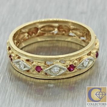 1920s Art Deco 14k Yellow Gold Ruby Diamond Engraved Floral Wedding Band Ring