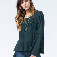 Full Tilt Womens Crochet Inset Top Emerald  In Sizes