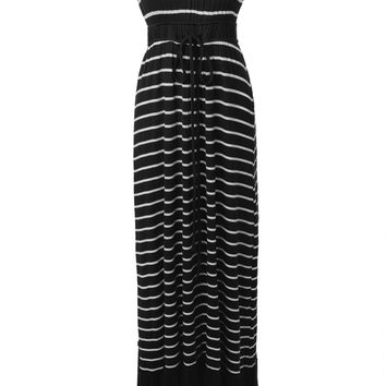 LE3NO Womens Strapless Striped Drawstring Maxi Dress (CLEARANCE)