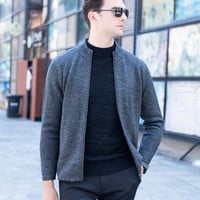 High-grade youth sweater Slim solid color loose male cardigan