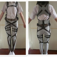 Cos cosplay SNK Attack on Titan Shingeki no Kyojin PU leather harness belt hookshot costume