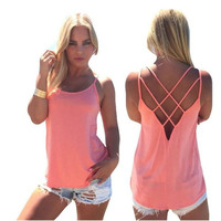Fashion Lady Women Sexy Strap Cross Hollow Out Vest Pure Color Basic Casual Loose Tank Tops Camis 7_S = 6091296963