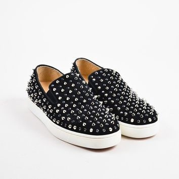 KUYOU ?Christian Louboutin Black Suede Spike  Roller  Slip On Sneakers