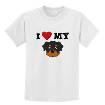 I Heart My - Cute Rottweiler Dog Childrens T-Shirt by TooLoud