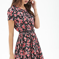 Belted Rose Print Dress