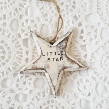 Little star, shabby chic star, white star, star door hanger, star nursery ornament, star nursery decor, wooden star, star door hanging, star