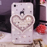 Free shipping  Big heart pearl rhinestone bling by dnnayding