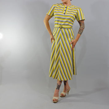 1940s Vintage Dress...WE MUST LIVE Summer Fashion Cotton Striped Dress Yellow Grey Puff Sleeves Celluloid Buttons Matching Belt Size Medium