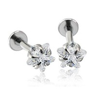 16G 1.2mm 316L Surgical Steel Internally Star Shaped Cubic Zirconia Labret Monroe Lip Ring Tragus Helix Daith Earring