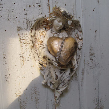 Angel statue wall hanging home decor shabby cottage off white cherub holding a romantic heart distressed decoration anita spero design