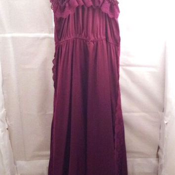 SALE 1960s Full Slip Purple/Wine Nightgown Lace Trimming Cut Out Bow Vintage Lingerie