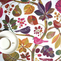 "Tablecloth white bright pink purple moss green birds tree forest 37""x56"" or made to order your size, great GIFT"