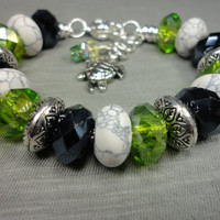 Howlite, Black, and Green European Bracelet With Turtle and Crystal Charms