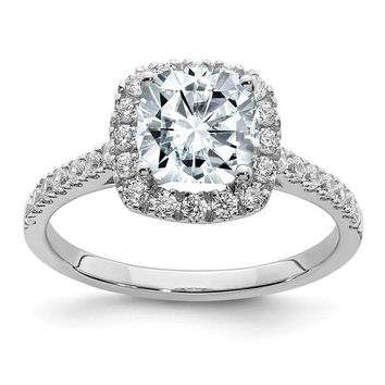 14k White Gold 1.9CT Cushion Moissanite Halo Engagement Ring