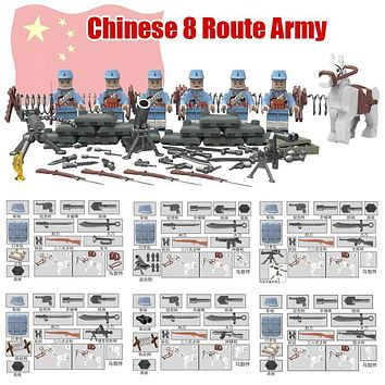 Small World War 2 Sino-Japanese War Chinese Eighth Route Army Military Building Block Toy figures Brick with Weapons D165
