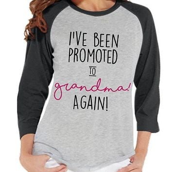 Pregnancy Announcement - Promoted to Grandma Again Shirt - Grey Raglan Shirt - Pregnancy Reveal - Surprise New Grandparents - Its a Girl