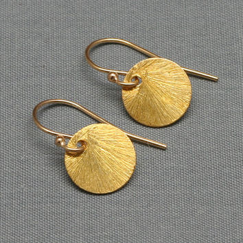 Gold Round Brushed Disc Earrings, 24K Gold Vermeil, 14K Gold-Filled, Sun Drop Earrings,Circle Earrings, Delicate,Tiny, Wedding, Bridesmaids
