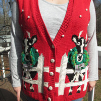 Tacky christmas sweater, tacky christmas vest, tacky sweater party, ugly christmas sweater, ugly christmas vest, holiday sweater, chrismtas