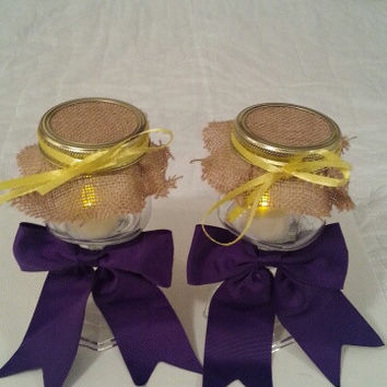 Burlap purple yellow wedding candle jar / center piece set. Any color to match your wedding