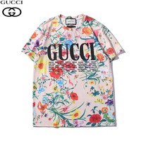 GUCCI FLORAL PRINT Modern T-Shirt Front Logo T-Shirt Top Tee situxi