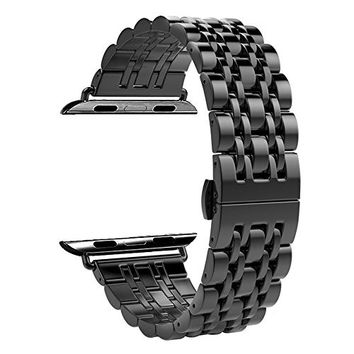 Stainless Steel Watch Band with Push Button Butterfly Clasp for Apple Watch Series 2 and Series 1 42mm - Black