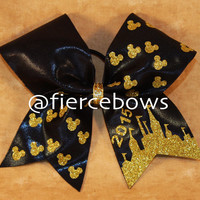 Gold Mickey Chevron Cheer Bow