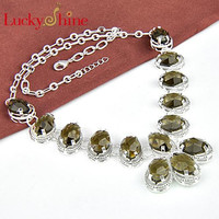 925 sterling silver plated women Citrine color natural stone necklace Jewelry N0492