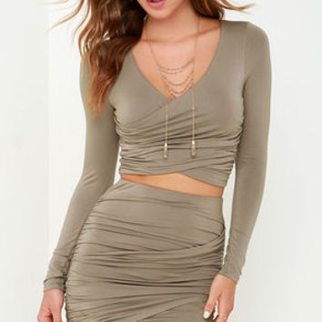 Nice Two Know You Taupe Two-Piece Dress