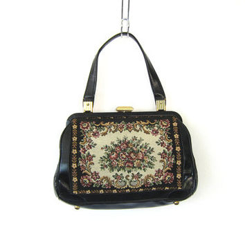 Vintage Carpet Handbag. 1960's Tapestry Rug Purse. black vinyl Shoulder bag