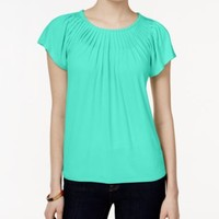 Style & Co. Pleated-Neck Top, Only at Macy's | macys.com