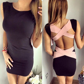 Fashion White Knitted Cross Bandage Sleeveless  Mini Dress Backless Short Bodycon Night Dress Tight