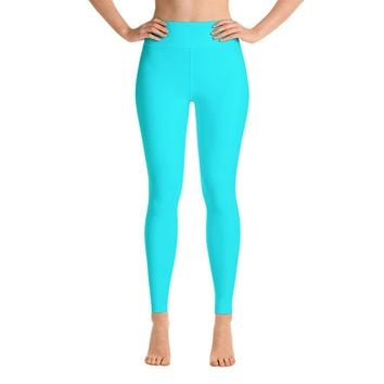 Solid Turquoise Teal Yoga Leggings
