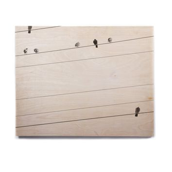"Qing Ji ""Birds on Wire"" Black White Birchwood Wall Art"