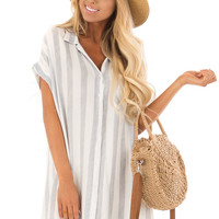 White and Navy Striped Collared Button Up Dress